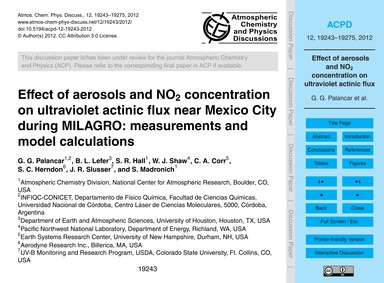 Effect of Aerosols and No2 Concentration... by Palancar, G. G.