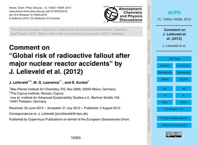 Comment on Global Risk of Radioactive Fa... by Lelieveld, J.