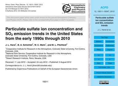 Particulate Sulfate Ion Concentration an... by Hand, J. L.
