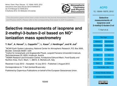 Selective Measurements of Isoprene and 2... by Karl, T.