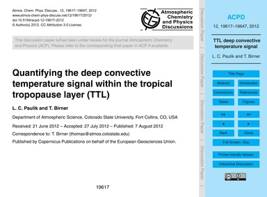 Quantifying the Deep Convective Temperat... by Paulik, L. C.