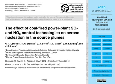 The Effect of Coal-fired Power-plant So2... by Lonsdale, C. R.