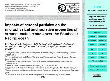 Impacts of Aerosol Particles on the Micr... by Twohy, C. H.