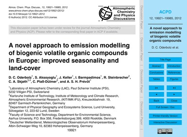 A Novel Approach to Emission Modelling o... by Oderbolz, D. C.