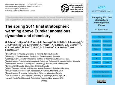 The Spring 2011 Final Stratospheric Warm... by Adams, C.