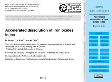 Accelerated Dissolution of Iron Oxides i... by Jeong, D.