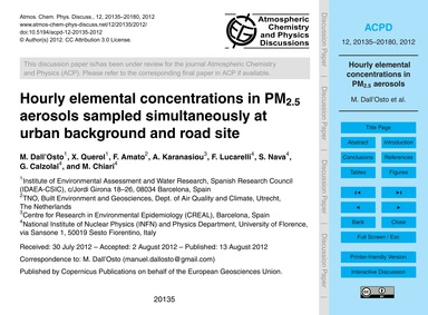 Hourly Elemental Concentrations in Pm2.5... by Dall'Osto, M.