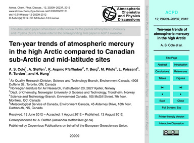 Ten-year Trends of Atmospheric Mercury i... by Cole, A. S.