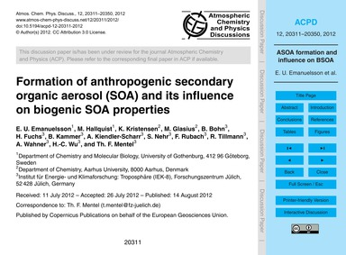 Formation of Anthropogenic Secondary Org... by Emanuelsson, E. U.