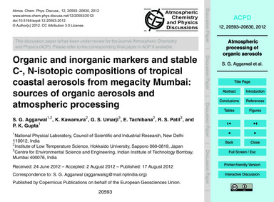 Organic and Inorganic Markers and Stable... by Aggarwal, S. G.