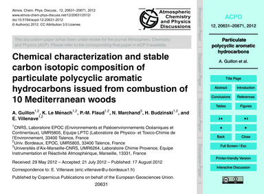 Chemical Characterization and Stable Car... by Guillon, A.