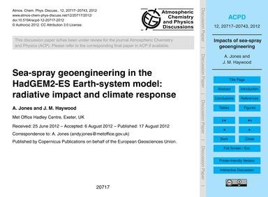 Sea-spray Geoengineering in the Hadgem2-... by Jones, A.