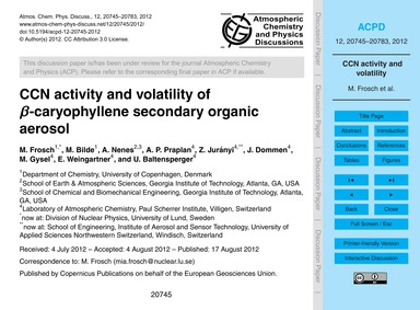 Ccn Activity and Volatility of Β-caryoph... by Frosch, M.