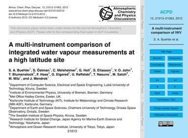 A Multi-instrument Comparison of Integra... by Buehler, S. A.