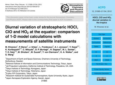 Diurnal Variation of Stratospheric Hocl,... by Khosravi, M.