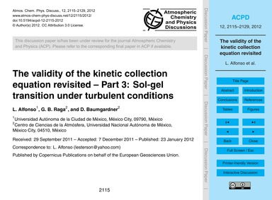 The Validity of the Kinetic Collection E... by Alfonso, L.