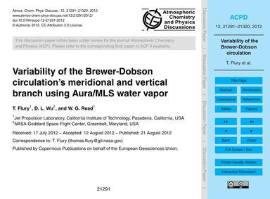 Variability of the Brewer-dobson Circula... by Flury, T.