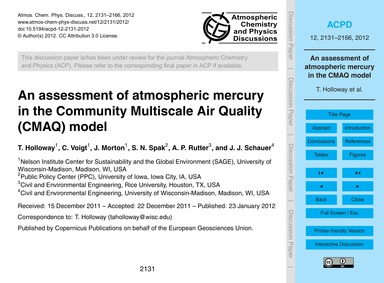An Assessment of Atmospheric Mercury in ... by Holloway, T.