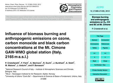 Influence of Biomass Burning and Anthrop... by Cristofanelli, P.