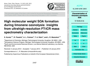 High Molecular Weight Soa Formation Duri... by Kundu, S.