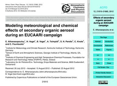 Modeling Meteorological and Chemical Eff... by Athanasopoulou, E.