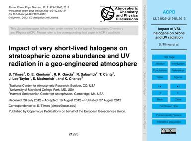 Impact of Very Short-lived Halogens on S... by Tilmes, S.