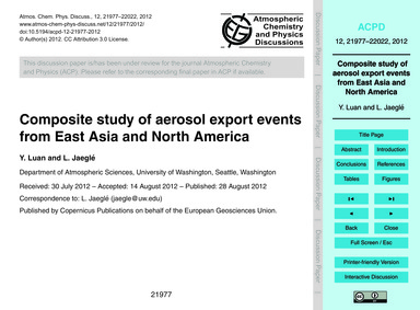 Composite Study of Aerosol Export Events... by Luan, Y.