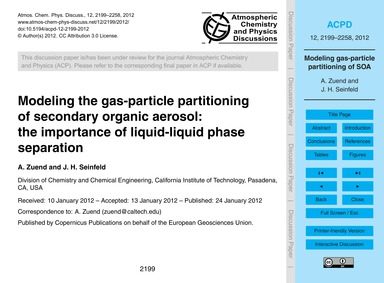 Modeling the Gas-particle Partitioning o... by Zuend, A.