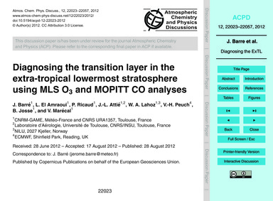 Diagnosing the Transition Layer in the E... by Barré, J.