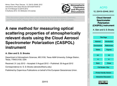 A New Method for Measuring Optical Scatt... by Glen, A.