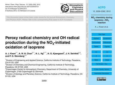 Peroxy Radical Chemistry and Oh Radical ... by Kwan, A. J.