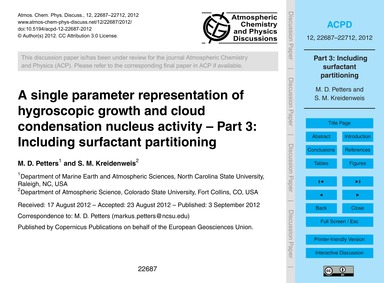 A Single Parameter Representation of Hyg... by Petters, M. D.