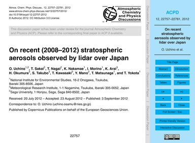 On Recent (2008–2012) Stratospheric Aero... by Uchino, O.