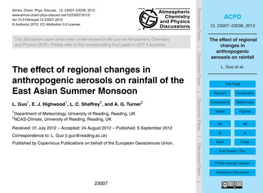 The Effect of Regional Changes in Anthro... by Guo, L.