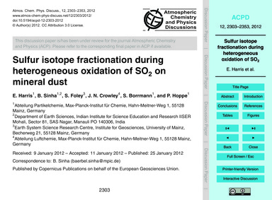 Sulfur Isotope Fractionation During Hete... by Harris, E.