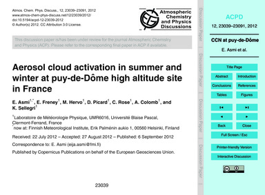 Aerosol Cloud Activation in Summer and W... by Asmi, E.
