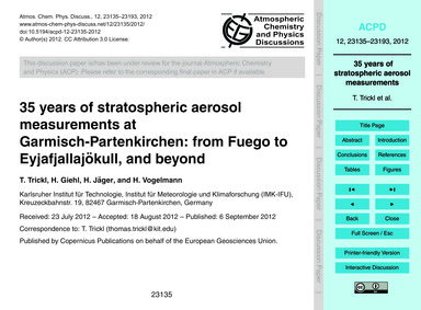 35 Years of Stratospheric Aerosol Measur... by Trickl, T.