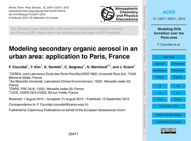 Modeling Secondary Organic Aerosol in an... by Couvidat, F.