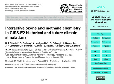 Interactive Ozone and Methane Chemistry ... by Shindell, D. T.