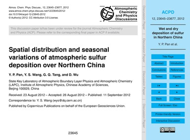 Spatial Distribution and Seasonal Variat... by Pan, Y. P.