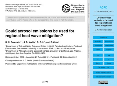 Could Aerosol Emissions Be Used for Regi... by Bernstein, D. N.