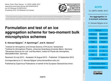 Formulation and Test of an Ice Aggregati... by Kienast-sjögren, E.