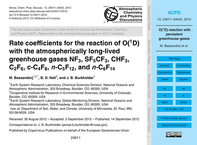 Rate Coefficients for the Reaction of O(... by Baasandorj, M.