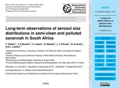 Long-term Observations of Aerosol Size D... by Vakkari, V.