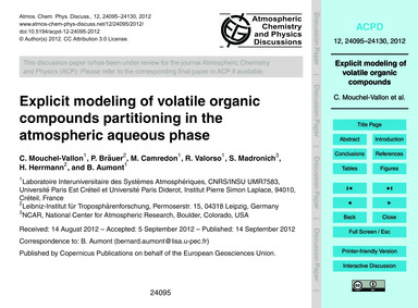 Explicit Modeling of Volatile Organic Co... by Mouchel-vallon, C.