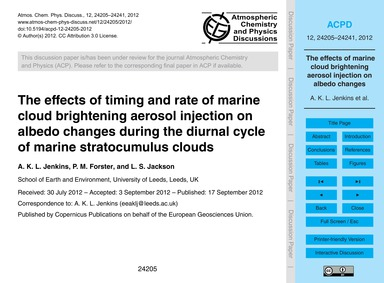 The Effects of Timing and Rate of Marine... by Jenkins, A. K. L.