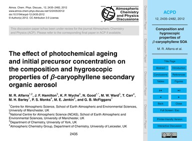 The Effect of Photochemical Ageing and I... by Alfarra, M. R.