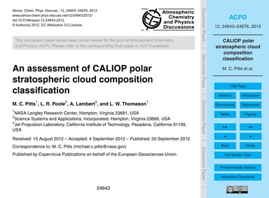 An Assessment of Caliop Polar Stratosphe... by Pitts, M. C.
