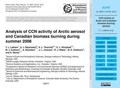 Analysis of Ccn Activity of Arctic Aeros... by Lathem, T. L.