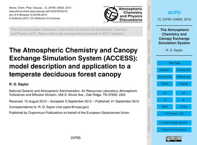 The Atmospheric Chemistry and Canopy Exc... by Saylor, R. D.